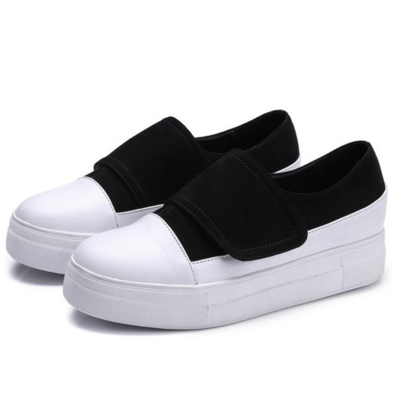 ФОТО brand designer women cow leather flat shoes 2017 black white mixed color round toes fashion ladies spring autumn flats loafers