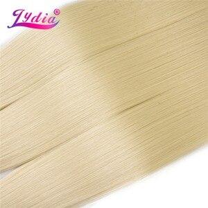 Image 3 - לידיה סינטטי יקי ישר שיער Weave עם כפול ערב 613 # בלונד שיער חבילות 16 inch 20 inch 4 יח\אריזה עם משלוח סגירה