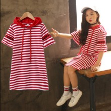 Summer Letter Printing Stripe Hooded Girls Dresses Casual Korean Baby Girl Clothes Bell Sleeve Children Kids for
