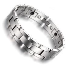 Tungsten Magnetic Hematite Mens Bracelet 8 Health Care Jewelry Wristband B1405