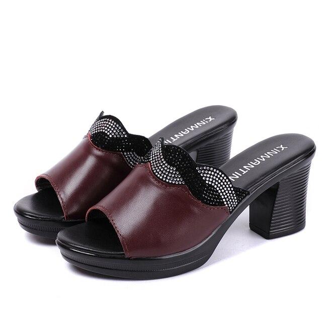 GKTINOO Women Slipper's 2019 Ladies Summer Slippers Shoes Women High Heels Fashion Rhinestone Summer Shoes Genuine Leather 4