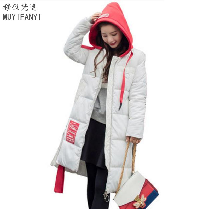 New 2017 Winter Coat Women Cotton Padded Slim Long Jacket High Quality Thick Warm Wadded Parkas With Hooded Outwear цена
