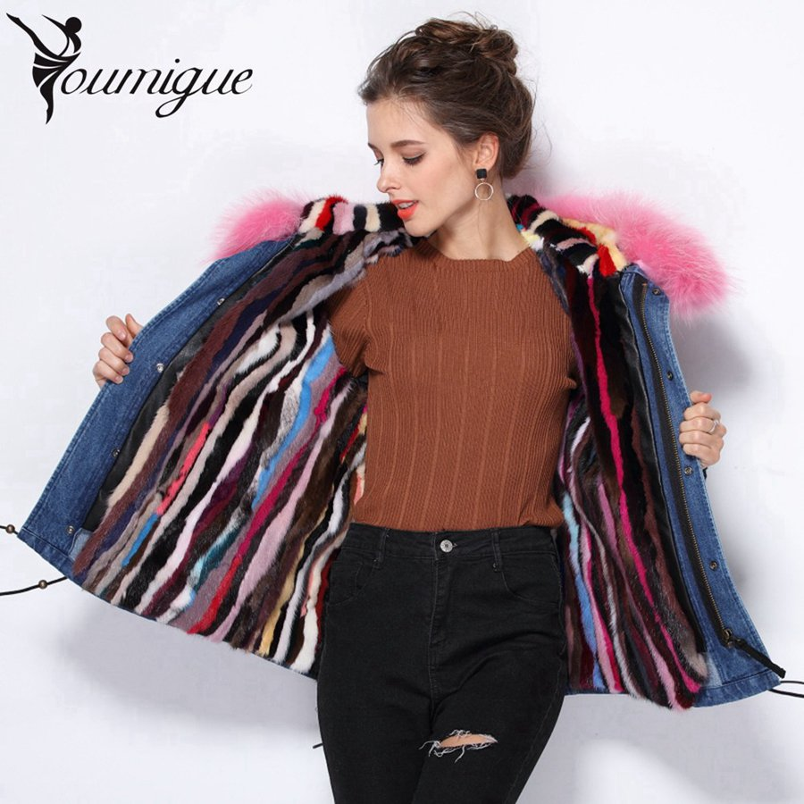 Natural Raccoon Fur Collar Hooded Parkas Thick Warm Real Mink Fur Coat Womens Winter Jackets Denim Jacket Women Parka Plus Size plus size 2017 women outwear long camouflage winter jacket thick parkas raccoon natural real fur collar coat hooded pelliccia