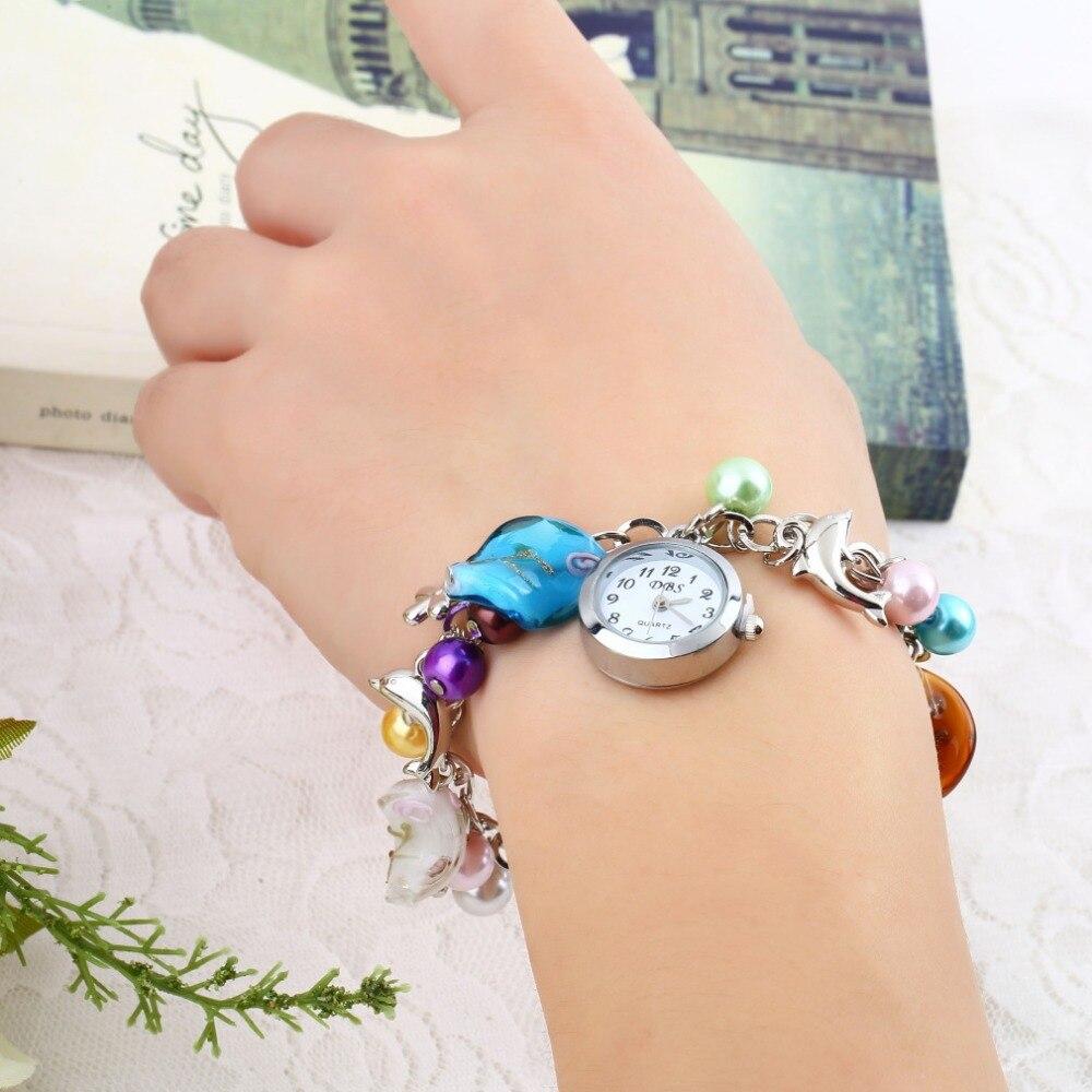 Kiss Ocean Dolphin Women Bracelet Bangle Wrist Watch Multicolor Faux Pearl  Watch Alloy Charming Quartz Dolphin