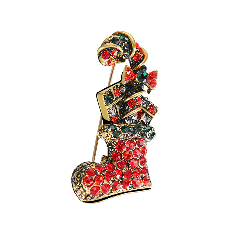 SHUANGR New Vintage Red Rhinestone Brooch Pin For Women Girls Coat Korea Sweater Christmas Socks With Gift Brooches Accessories