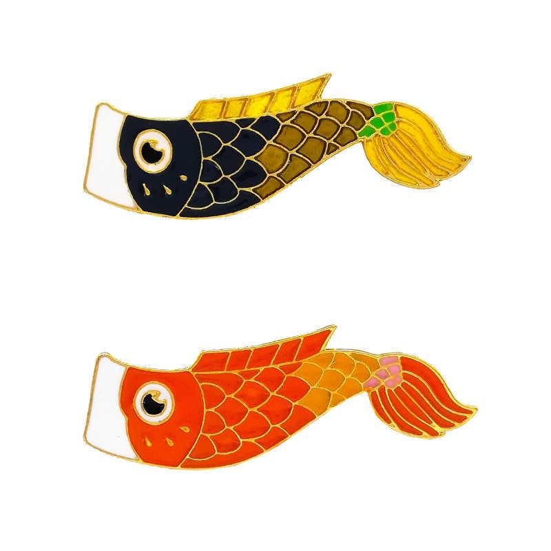 Suki Merah Hitam Koi Bros Lucu Ikan Mas Enamel Pin Denim Kerah Ikan Badgefamily Anak Berkat Hadiah Teman Kepribadian Perhiasan