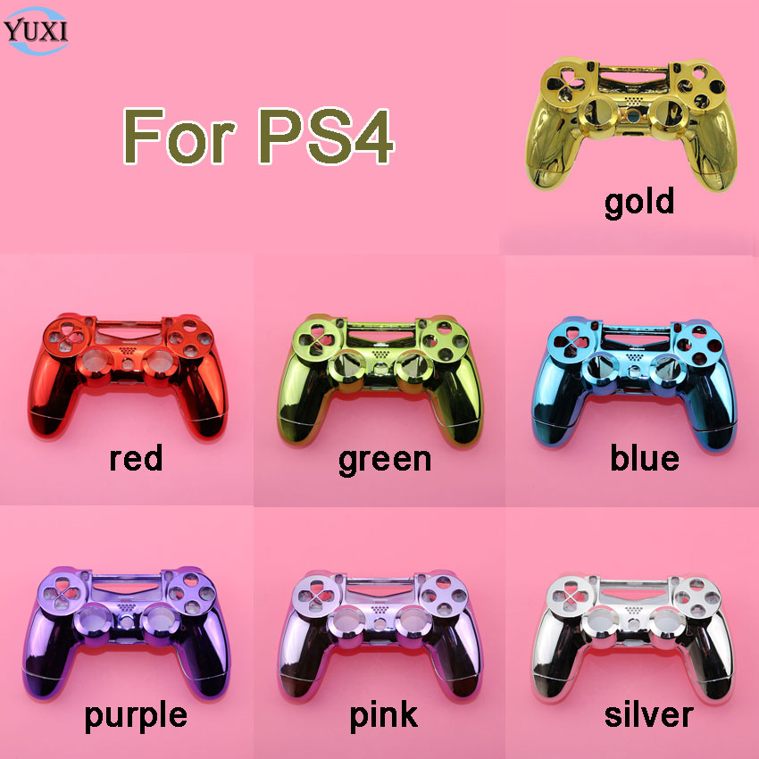 YuXi Chrome <font><b>Case</b></font> Front back / Upper Lower Cover Housing Shell for Sony <font><b>PS4</b></font> DualShock 4 Controller Gamepad. JDM-001 Old Version image