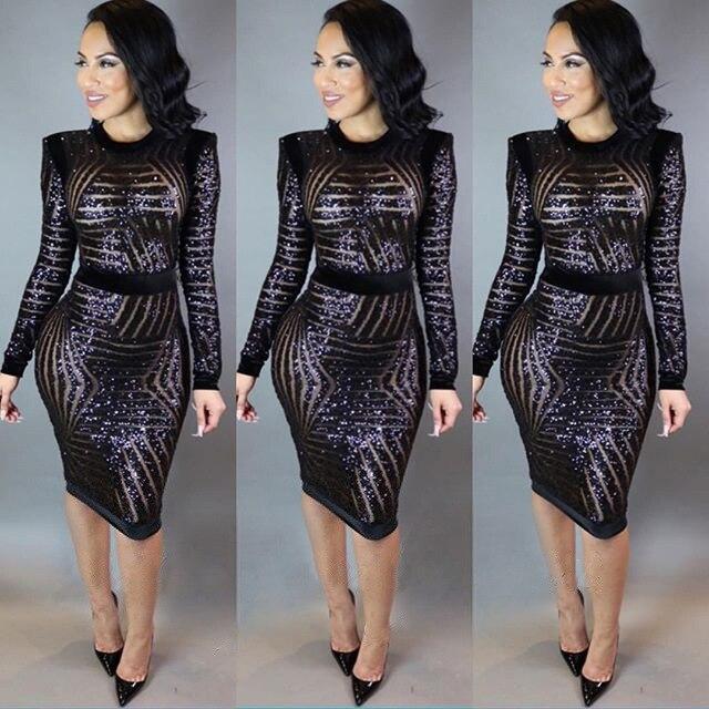 ea293f10e sexy moda feminina long sleeve sequin dress plus size women mesh ...