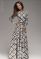 JOYINPARTY Maxi Hiver Plaid Casual Robe Nouvelle Longue Élégante Jour Robes De Festa Vintage Style De Mode Bureau Femmes Robes