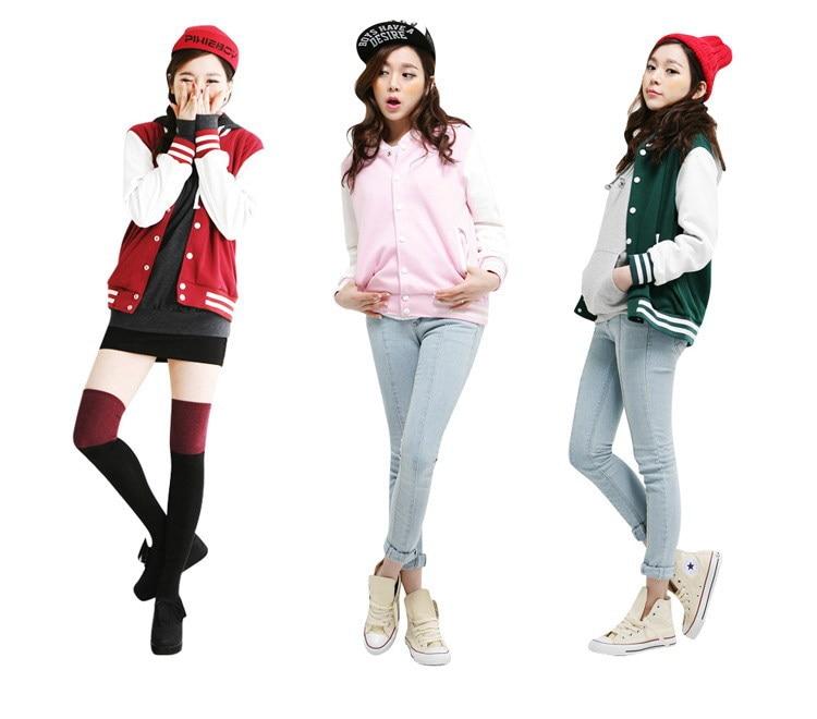 Free Shipping new women's korean fashion color block baseball coat ...