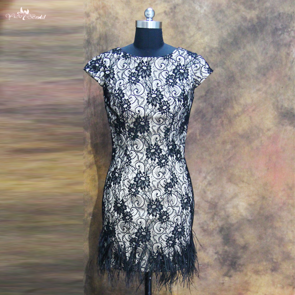 RSE107 Black Lace Cocktail Dress Ostrich Feather Dress