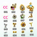 5Pcs Crystal Nails Stickers Cards Jeweled Nail Decals Adhesive Nail Art Strips for Beauty Girl/ Women