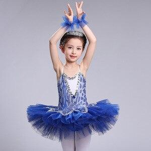 Image 3 - blue professional ballet tutu for girls kids sequin ballet tutu child dance costume for girls