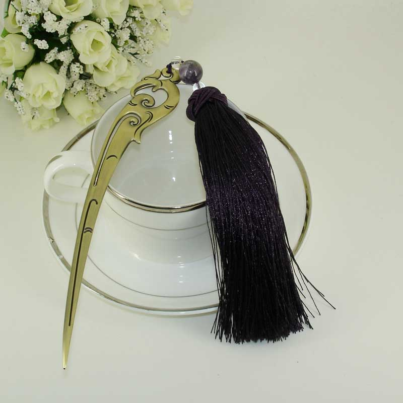 China Antique Stainless Steel Handmade Bookmark with Tassel and Beading Ornaments Purple Fashionable Stationery Accessories Gift