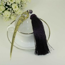 Купить с кэшбэком China Antique Stainless Steel Handmade Bookmark with Tassel and Beading Ornaments Purple Fashionable Stationery Accessories Gift