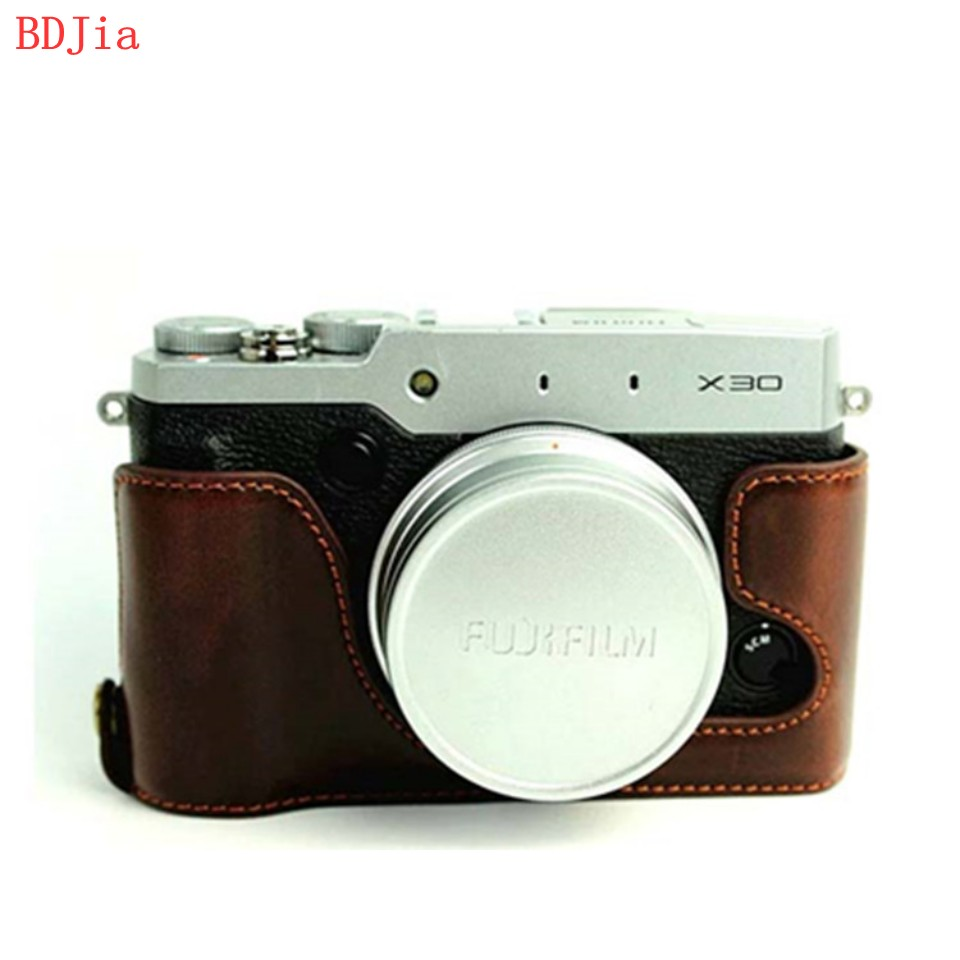 NEW ! Fashional Camera Bag Case For Fujifilm X30 PU Leather Half Body Set Cover With Battery Opening, Free Shipping