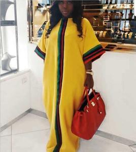 Image 4 - Vestidos africanos para as mulheres 2019 verão outono listra impressão magro mangas compridas maxi vestido nova moda africano roupas de áfrica