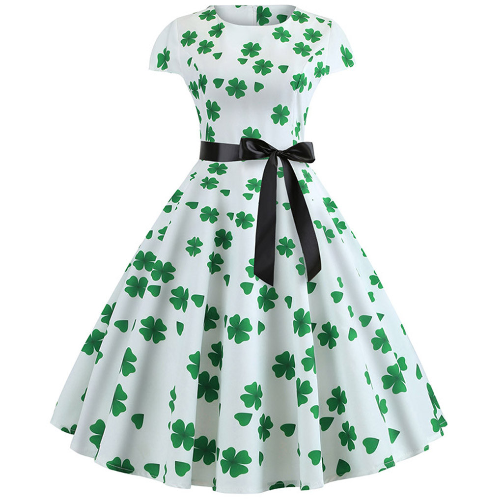 6fde2ee3ef0eb Feitong 2019 Saint Patrick Parades Irish St. Patrick's Day Dress Sunday  Retro Lucky You Green Three Leaf Shamrock Clover Dress