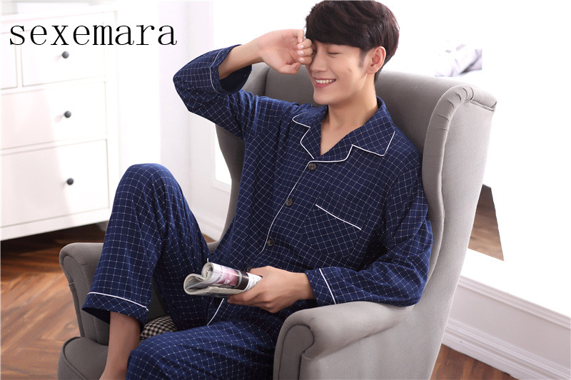 Imported From Abroad 2019sexemara Brand New Arrival Fashion Men Sleeping Cloth 100% Cotton Comfortable Men Pajamas Red Plaid Free Shipping 4 Size Good For Antipyretic And Throat Soother Men's Pajama Sets Underwear & Sleepwears