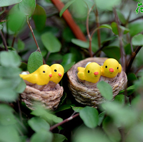 3pcs Yellow Bird Bonsai Figurines Miniature Resin Animals Fairy Garden Decor Micro Landscape Decoration Home Craft C0003 In Miniatures From