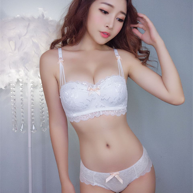 New Hot 1/2 Half Cup Lace Tube Top Collection Rimless Thicker Cup   Bra   Sexy   Set   Gather Adjustable   Bra     Set