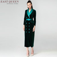 Double breasted women ladies long business office dress dinner social interview sexy autumn winter dress DD409 F