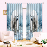 The polar bear 3 d printing digital three dimensional 100% black silk curtain curtain sha