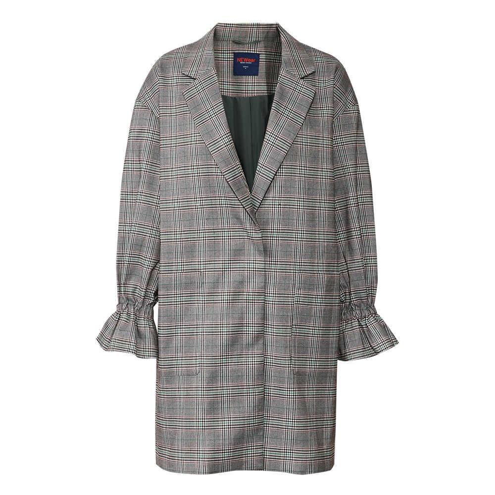 Metersbonwe бренд расклешенный рукав женское пальто плед 2019 новый стиль