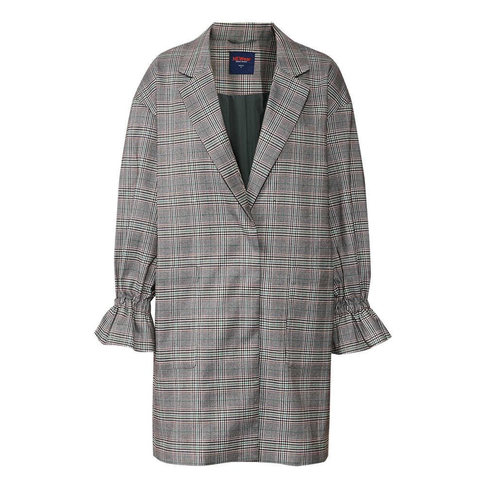 Metersbonwe brand flared sleeve women coat plaid 2019 new style