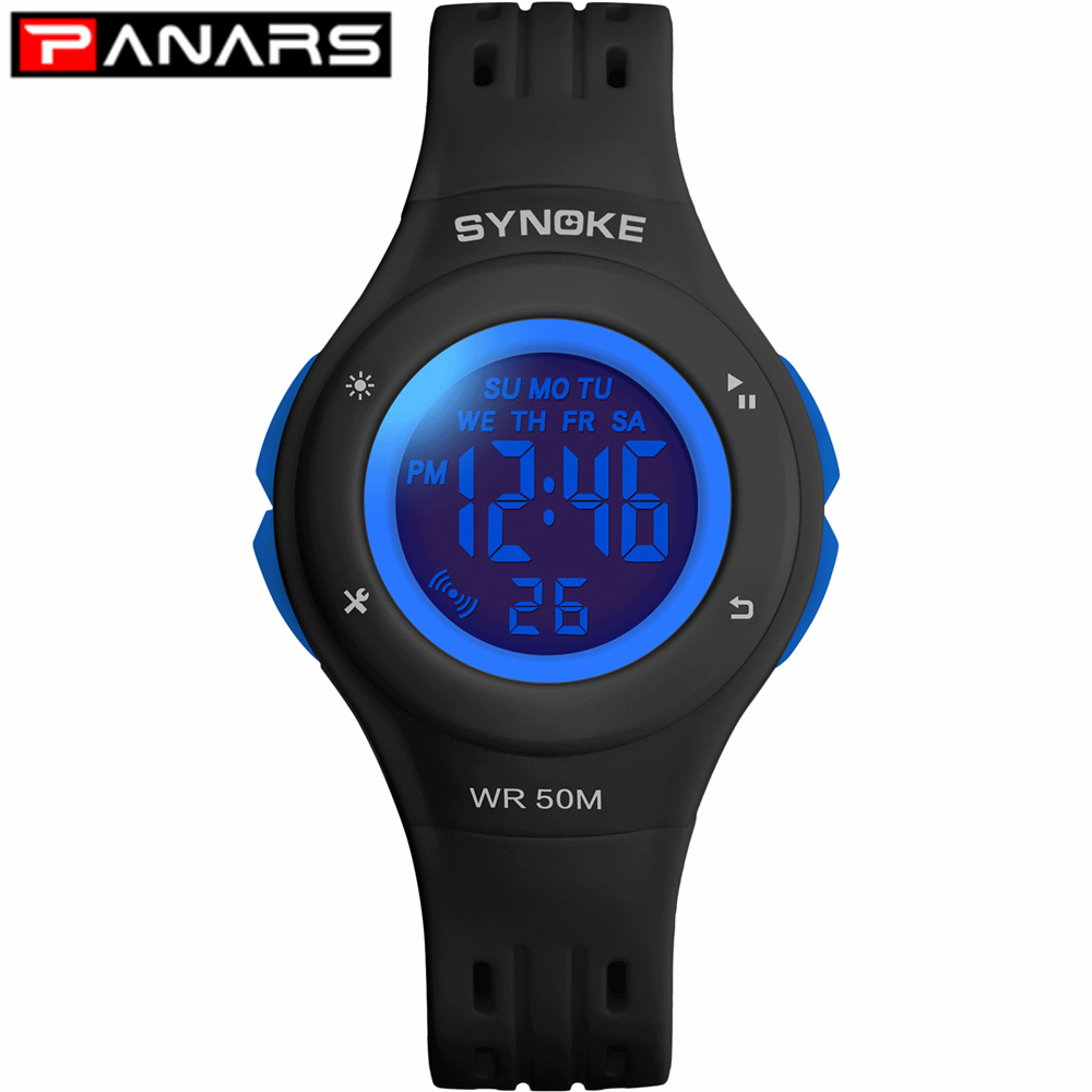 PANARS New Arrival 5 Colors LED Fashion Watch WR50M Waterproof Kids Wristwatch Alarm Clock Multi-function Watches For Girls Boys