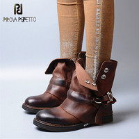 Prova Perfetto Euramerican Style Turned over Genuine Leather Patchwork Flat Bottom Woman Boots Retro Design Thickness Heel Boots