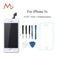 Ningún pixel muerto reparación de la pantalla para apple iphone 5s lcd pantalla digitalizador reemplazo de la pantalla táctil de la asamblea blanco negro + vidrio + herramientas