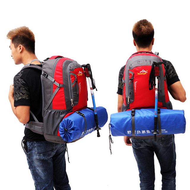 Sacos das mulheres dos homens mochila de viagem 60L caminhadas mochila de viagem à prova d' água multi-purpose amantes de grande capacidade grande saco preto 8007