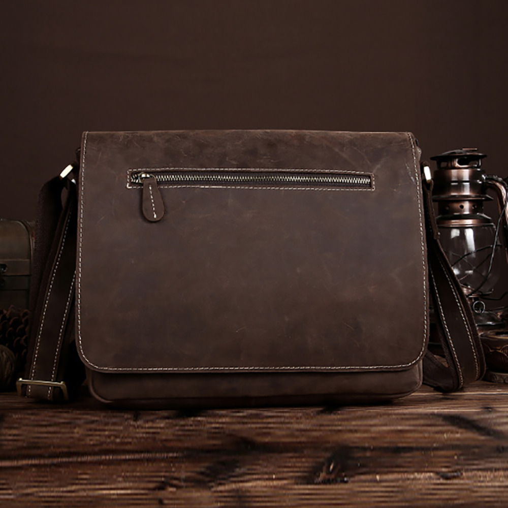 High Quality Crazy Horse Cowhide Genuine Leather Men Cross Body Messenger Shoulder Bag Vintage Male Briefcase Business Bag New