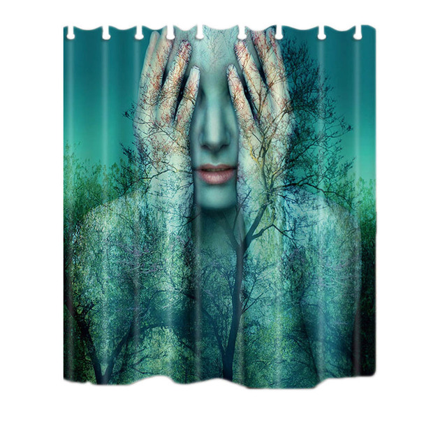 New Forest Woman Mermaid Print Shower Curtain Waterproof Mildewproof Polyester Jellyfish Bath
