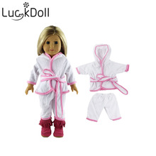 Luckdoll edging white suit robe fits  43 American dolls, the best gift for kids