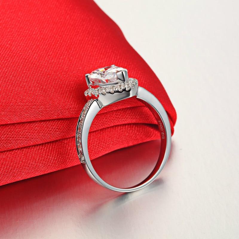 3 Ct Carats Goutte D'eau De Luxe Anneaux pour Femmes 925 Sterling Argent AAAAA Cubique Zircon Sona Cz or blanc couleur anneaux de mariage - 2