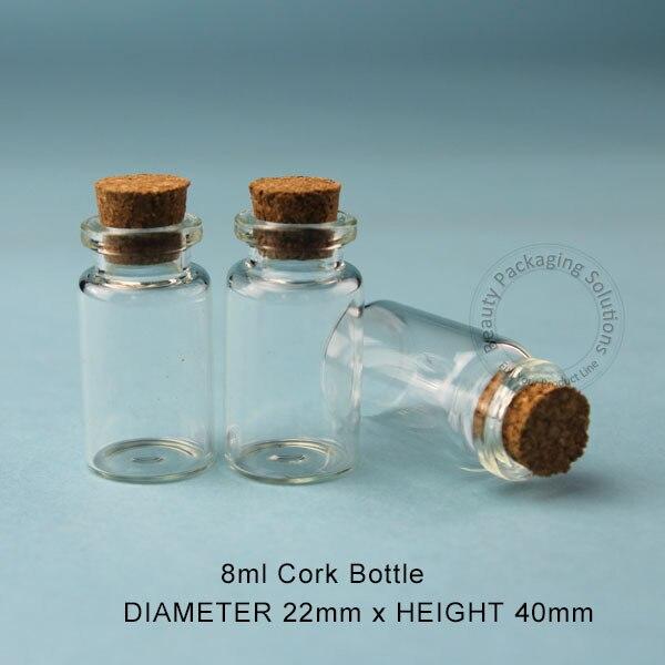 Bouteille en liège en verre de 8ml, flacon cadeau 4/15OZ, petit pot, conteneur pour souhaiter bouchon en liège, 100 pièces/lot