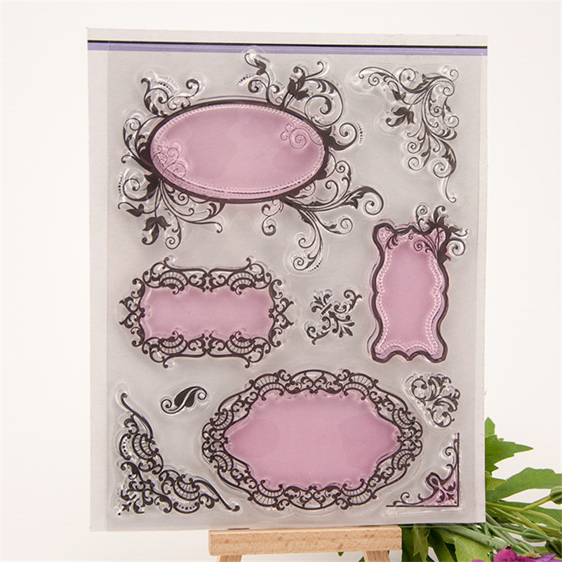 DIY Lace frame Transparent Clear Rubber Stamp Seal Paper Craft Photo Album Diary Scrapbooking paper Card for wedding gift EE-79 live love laugh and dream clear stamp scrapbooking stam craft wedding paper card christmas gift photo album cl 248