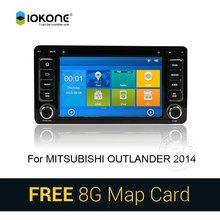 IOKONE Car DVD Video Player GPS navi Stereo multimedia for Mitsubishi Outlander 2014 With Bluetooth SWC iPOD 8G SD card