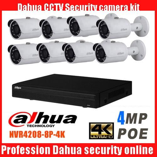 Dahua 8CH CCTV 1080P NVR4208 IP Camera System/Kit with 8PCS DAHUA DH-IPC-HFW1420s Full HD WDR Network Small IR Bullet IP Camera free shipping dahua cctv camera 4k 8mp wdr ir mini bullet network camera ip67 with poe without logo ipc hfw4831e se