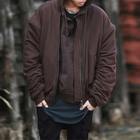 Для мужчин; зимняя куртка Зимние теплые толстые MA1 Реверсивный Oversize Бейсбол куртка Kanye West японский уличная пальто человек одежда