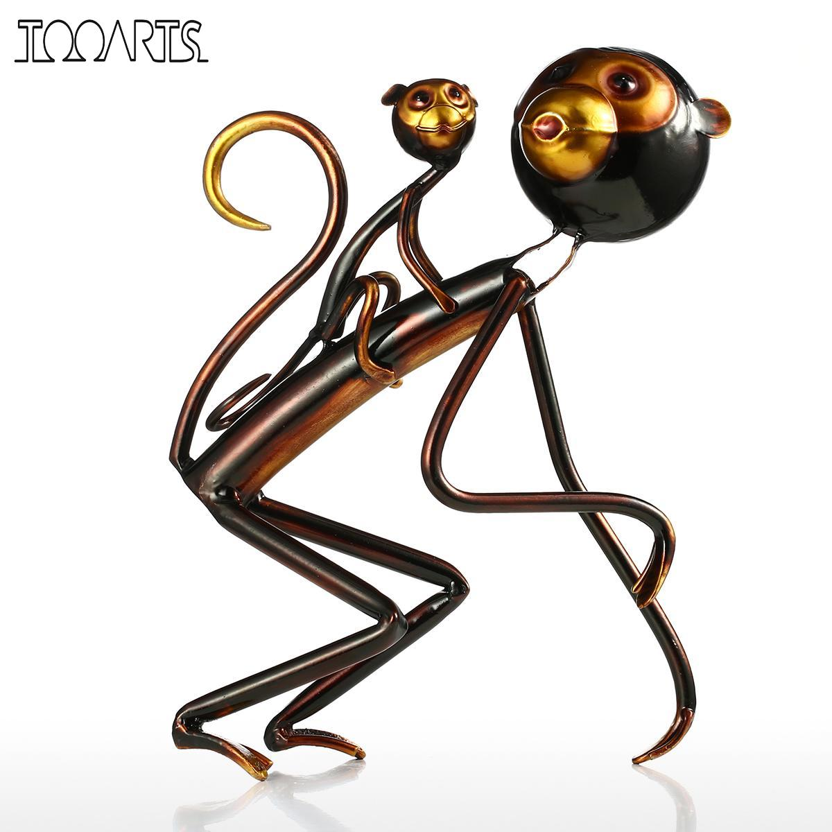 Tooarts singe carrys bébé sculpture en métal de fer