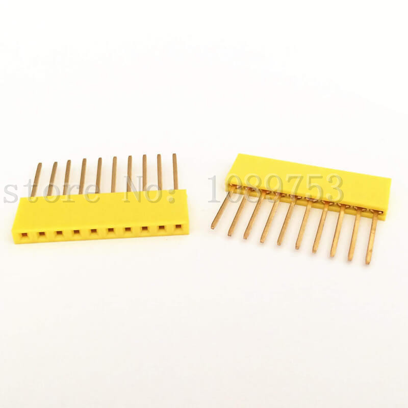 50Pcs 10Pin Female Tall Stackable Header Connector Socket For Arduino Shield Yellow