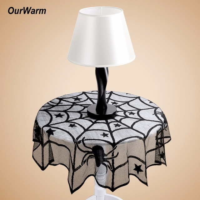 Ourwarm 10pcs 40 Inch Halloween Lace Spider Web Tablecloth Round Table  Topper Covers Halloween Table Decoration