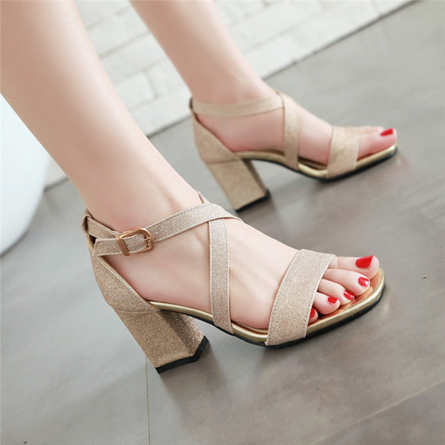 a2635a34e1ac9 YMECHIC 2018 Cross Strap High Heels Sandals Party Wedding Bridal Shoes  Summer Pink Gold Silver Ladies Plus Size Sandal Women