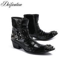Мужские кожаные ботинки на высоком каблуке в стиле панк