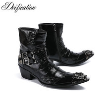 Deification High Heels Punk Style Leather Men Shoes Military Cowboy Ankle Boots Metal Pointy Toe Lace Up Buckle Straps