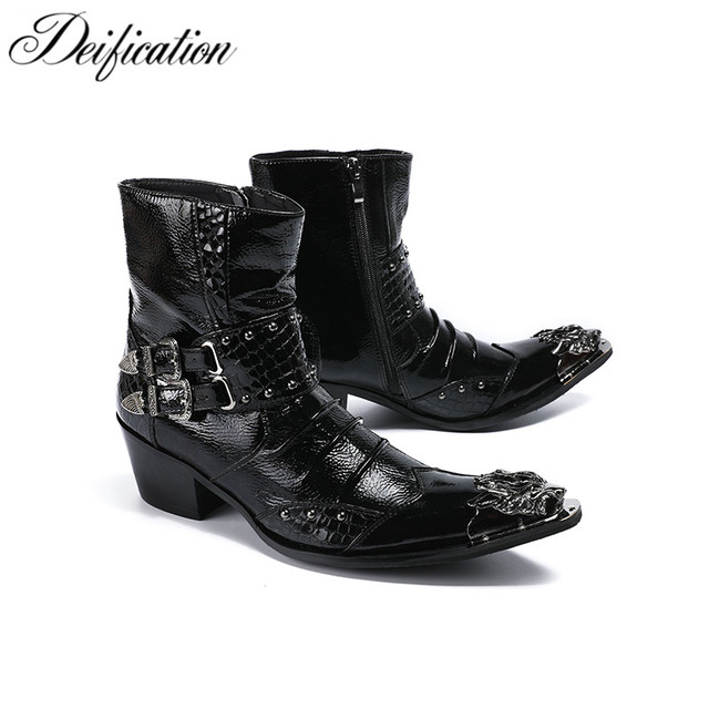 a924357080edd Deification High Heels Punk Style Leather Men Shoes Military Cowboy Ankle  Boots Metal Pointy Toe Lace Up Buckle Straps Shoes Men