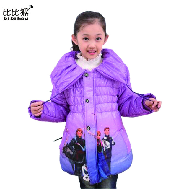 2016 New Children Outwear Girls Long Jacket Snow Queen Clothes Elsa Cartoon Jacket Down & Parkas